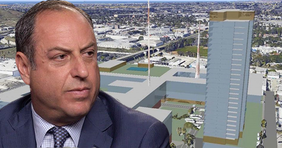 Carmel Partners CEO Ron Zeff and a rendering of the project at 3321 South La Cienega Boulevard