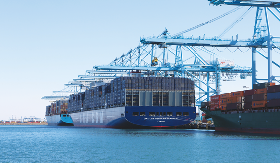 The CMA CGM Benjamin Franklin, one of the largest cargo container ships in the world, docked at the deep-water ports in Los Angeles and Long Beach in 2015.