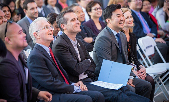 Mayor Eric Garcetti and Councilmember David Ryu sit next to each other at a concert (Credit: Ryu's Facebook page)