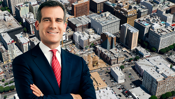 Mayor Eric Garcetti and DTLA (Credit: L.A. Mayor, Hunter Kerhart)