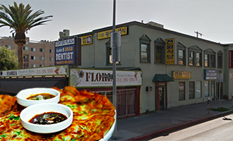 The plaza at 3100 West 8th Street and a photo of Jun Won's seafood pancake
