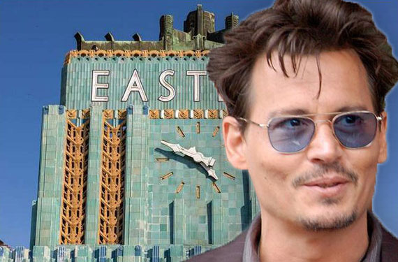 Johnny Depp and the Eastern Columbia Building at 849 South Broadway