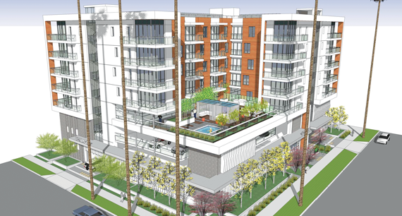 A rendering of The Kenmore, a new 64-unit multifamily structure being built by Canfield