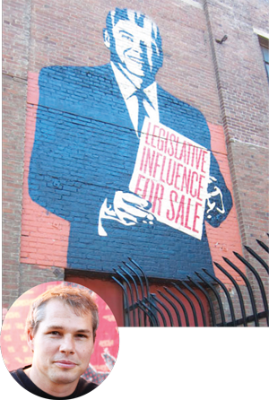 A mural on district anchor Angel City Brewery by Shepard Fairey (inset).