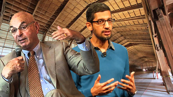 Ratkovich CEO Wayne Ratkovich, Google CEO Sundar Pichai and the Spruce Goose hangar at