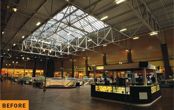 The Bloc, a DTLA mall, before the roof as part of a $180 million redesign.