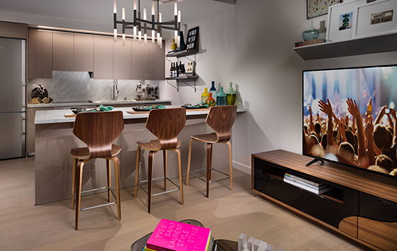The kitchen in a model residence at Ten50