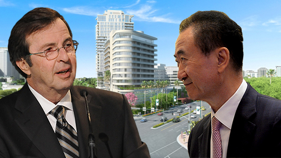 Beny Alagem, Wanda Group CEO Wang Jianlin and a rendering of Alagem's 26-story tower in his Beverly Hilton project (Credit: Getty, Beverly Hilton)