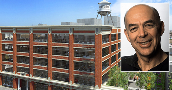 The Ford Factory building at 777 South Santa Fe Avenue and Warner Music Group CEO Stephen Cooper (Credit: Shorenstein, Music Business Worldwide)