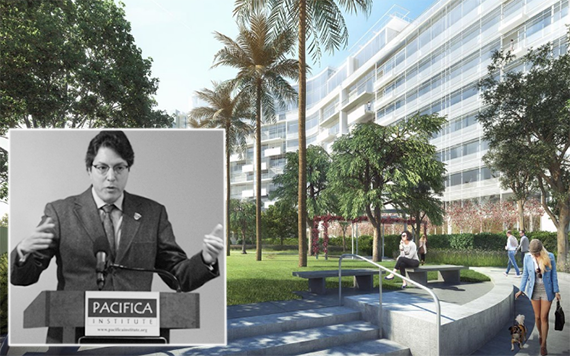 Beverly Hills Mayor John Mirisch and a rendering of One Beverly Hills (Credit: Pacifica Institute, Wanda Group)