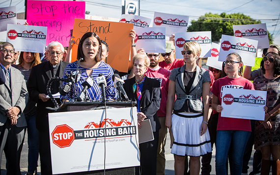 Rachel Torres at the news conference against the Neighborhood Integrity Initiative (Credit: Jon Endow)