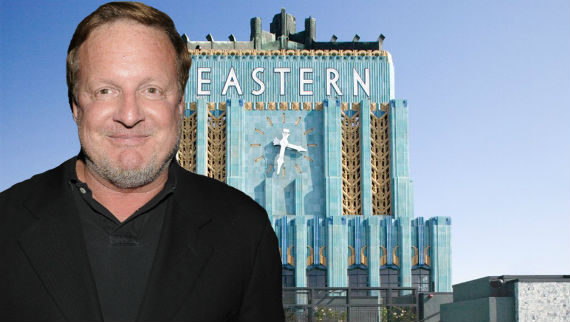 Ron Burkle and the Eastern Columbia building at 849 South Broadway (Credit: Getty, Historic Resources Group)