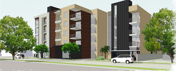 Rendering of Shofet's project at 707 North Alvarado Street (Credit: Axiom)