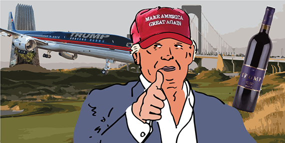 From left: Trump Tower, a Trump private airplane, Trump Golf Links at Ferry Point, Donald Trump and Trump wines (illustration by Lexi Pilgrim for The Real Deal)