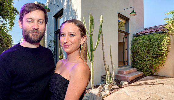 Tobey Macguire, Jennifer Meyer and their home at 903 Princeton Street (Credit: Getty, Trulia)