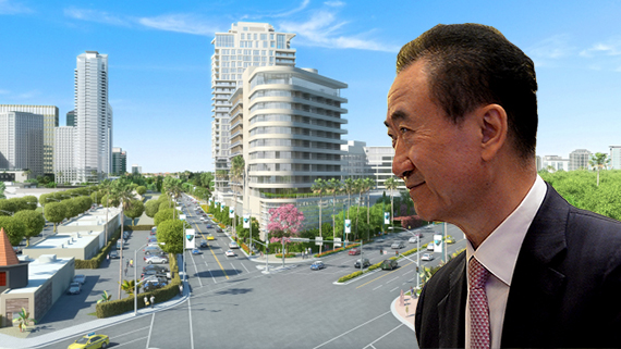 Wanda chairman Wang Jianlin and a rendering of Beny Alagem's 26-story tower in his Beverly Hilton project (Credit: Getty, Beverly Hilton)