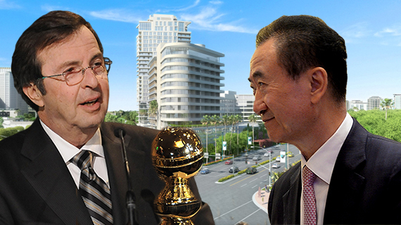 Beny Alagem, Wang Jianlin, a rendering of Alagem's 26-story tower and a Golden Globe award (Getty, Beverly Hilton)