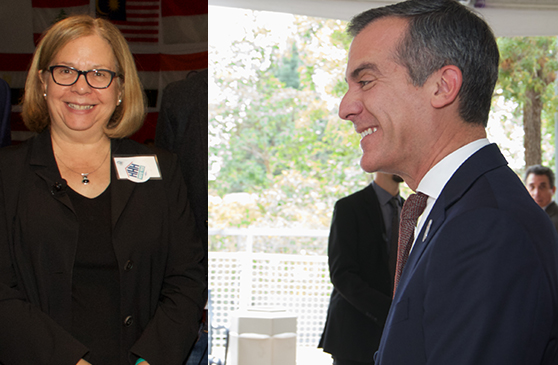 Ann Sewill of California-Community Foundation and Mayor Eric Garcetti at LABC summit (Barry Levine)