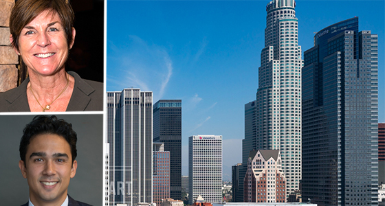 Kitty Wallace (credit: Adam Southland), Daniel Mense (via Ness Holdings) and the DTLA skyline (credit: Hunter Kerhart)