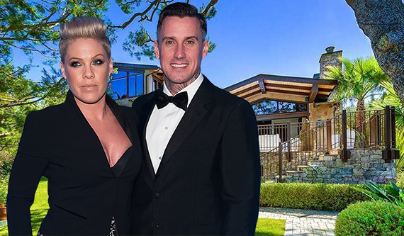 Pink, Carey Hart and their house at 6902 Wildlife Road (Credit: Getty, Zillow)