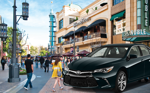 Rendering of The Grove and a Toyota Camry