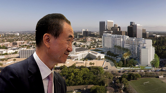 Wanda chairman Wang Jianlin and a rendering of the One Beverly Hills project at 9900 Wilshire Boulevard (Credit: Getty, Richard Meier Architects)