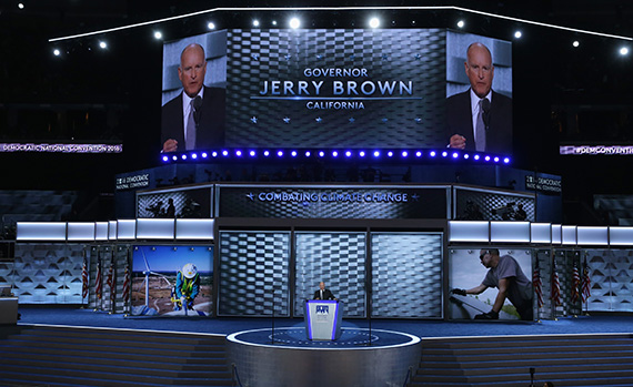 PHILADELPHIA, PA - Governor Jerry Brown speaking at the Democratic National Convention (Alex Wong/Getty Images)