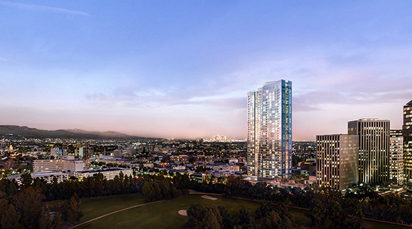 A rendering of Crescent Heights' Ten Thousand apartments at 10000 Santa Monica Boulevard