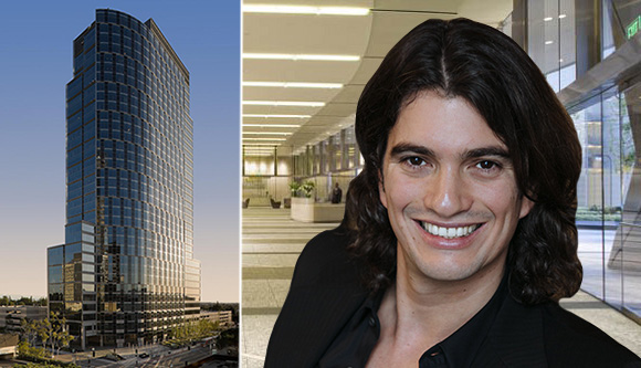 Constellation Place at 10250 Constellation Boulevard, its lobby and WeWork founder Adam Neumann