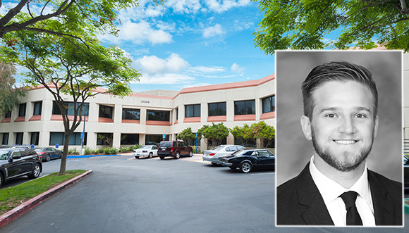 CBRE's Mike Longo and the building at 31365 Oak Crest Drive