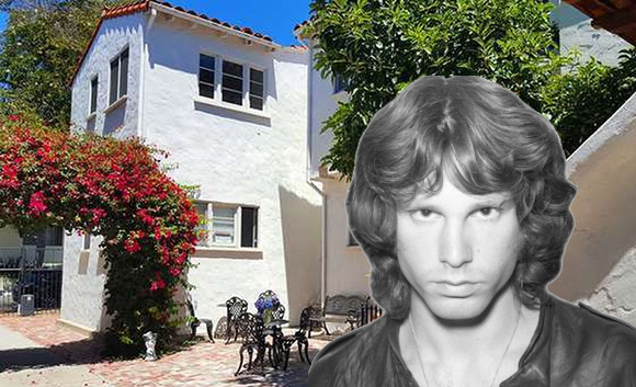 Jim Morrison and the apartment building at 8214-8218 Norton Avenue (Credit: Freedom's Phoenix, Zillow)