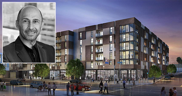 Sonny Astani And A Rendering Of The Apartments At 1515 Wilshire Boulevard Credit USC HotPads