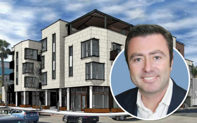 Cypress Equity Investments founder and CEO Michael Sorochinsky and the 53-unit project on Wilshire Boulevard (Credit: Cypress Equity Investments)