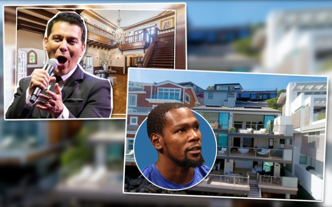 Michael Feinstein and a main room in the Los Feliz mansion and Kevin Durant and the home in Malibu (Credit: 31504 Victoria Point Road)