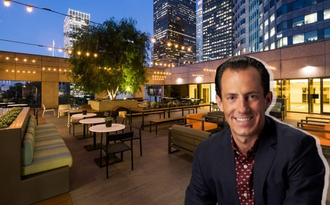 CommonGrounds CEO Jacob Bates and 915 Wilshire Boulevard (Credit: LinkedIn)