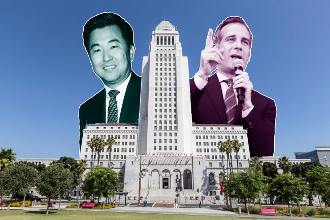 Councilmember David Ryu, City Hall, and LA Mayor Eric Garcetti (Credit: Getty Images and iStock)