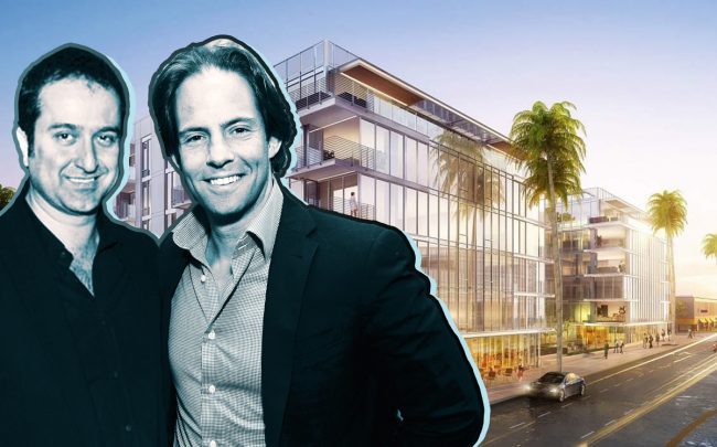Bilgili Development's Serdar Bilgili and Michael Shvo with a rendering of 9200 Wilshire Boulevard (Credit: Facebook and Getty Images)