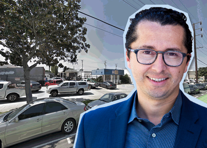 Community Corporation of Santa Monica Development Director Jesús Hernandez and the assemblage of parcels on 14th Street