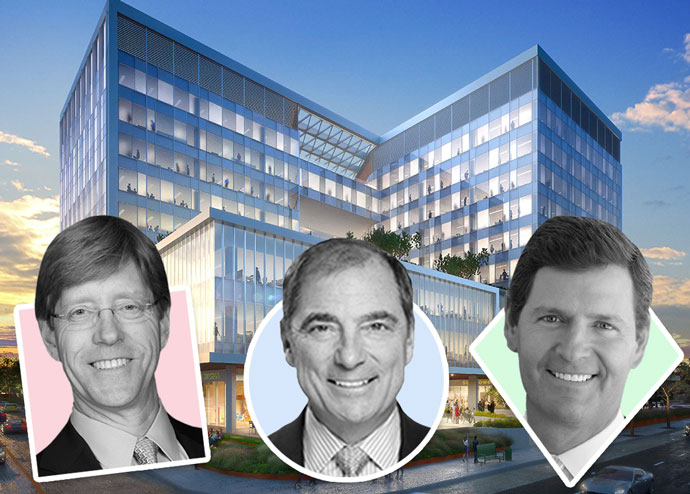 From left: Thomas McCarthy, John Kukral, and Edward Cook III with a rendering of the project