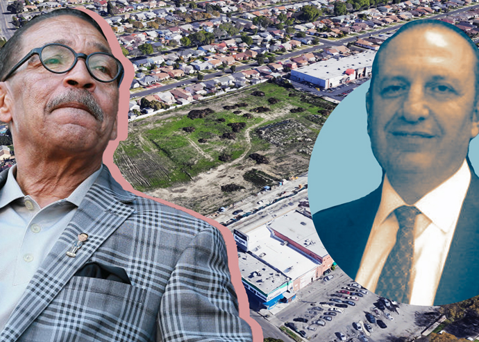 From left: City Council President Herb Wesson, an aerial of the lot at 3660 Crenshaw Boulevard, and Arman Gabay (inset) (Credit: Getty Images, Google Maps, and Twitter)