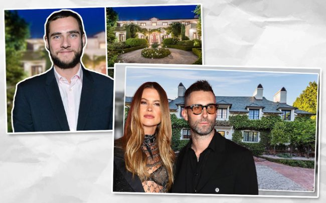 Anton Lessine and 321 South Bristol Avenue, and Behati Prinsloo and Adam Levine with their home (Credit: Getty Images and Zillow)