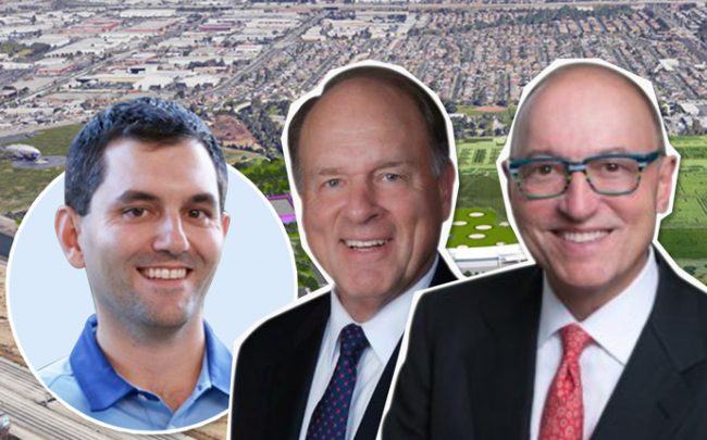 From left: John Vollbrecht, founder of FlyingTee, Robert B. Blanchard of Blanchard Entities, and William A. Shopoff, CEO of Shopoff Realty Investments