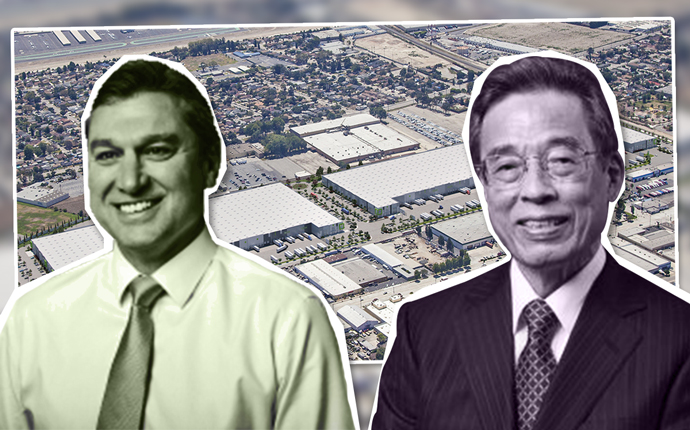 Goodman North America CEO Anthony Rozic, Mutual Trading Company President Kosei Yamamoto and a rendering of the Goodman Logistics Center El Monte