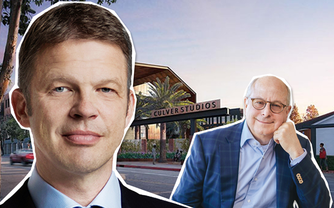 Deutsche Bank CEO Christian Sewing, Hackman Capital CEO Michael Hackman and a rendering of Culver Studios