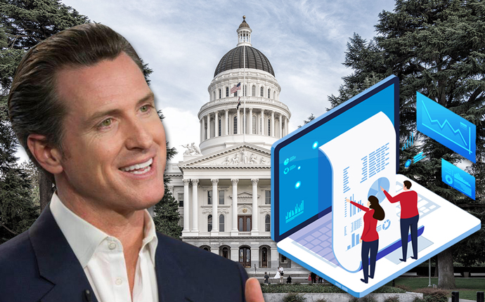 Gavin Newsom with the Capitol in Sacramento