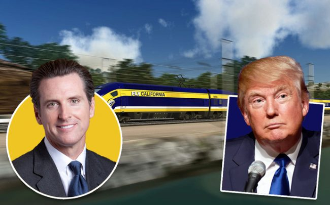 Gavin Newsom, Donald Trump and a rendering of the train