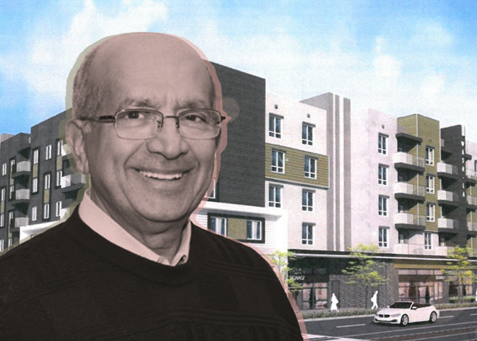 Percival Vaz and a rendering of the housing project (Credit: City of Los Angeles)