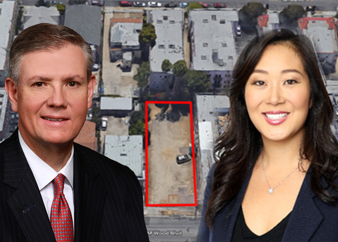 From left: Comerica Bank CEO Curtis Farmer, Jamie Lee and 2842 West James Wood Boulevard (Credit: LinkedIn and Google Maps)