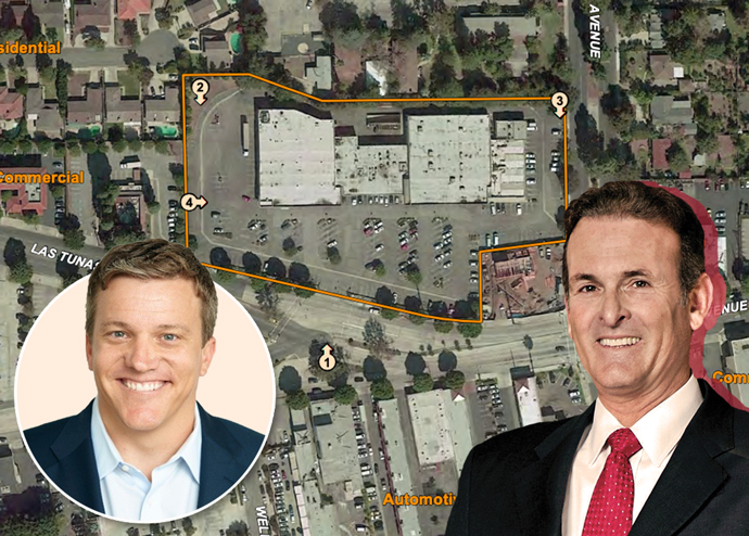 Aaron Hirschi, senior vice president of land acquisition for Olson Homes, Lennar Corporation CEO Rick Beckwitt, and the project site (Credit: The city of Arcadia)