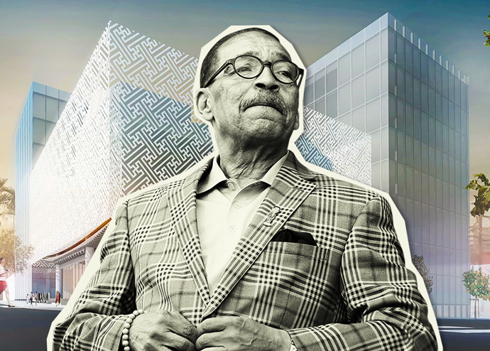 Council President Herb Wesson and a rendering of the KANM including its housing component